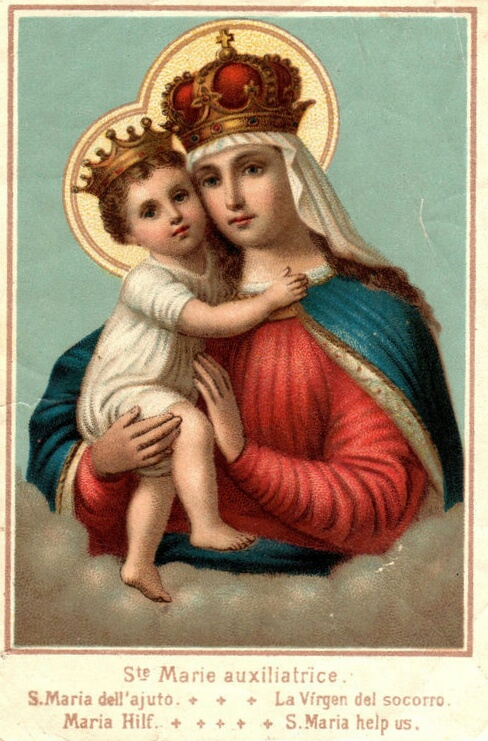 19th century lithograph of Our Lady of Help. The title of the image is printed in 5 languages