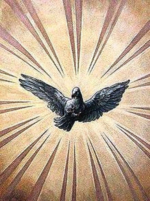 Depiction of the Holy Spirit dove (ceiling fresco in St. Charles's Church, Vienna, 1700's)