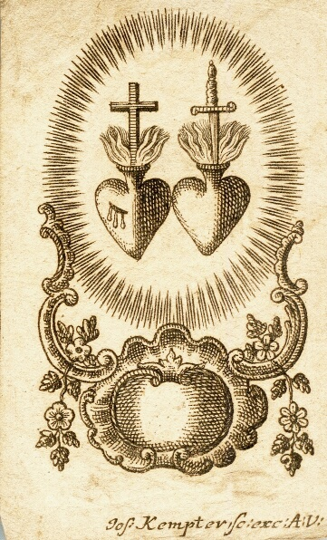 German engraving of the Sacred Hearts of Jesus and Mary, 18th century