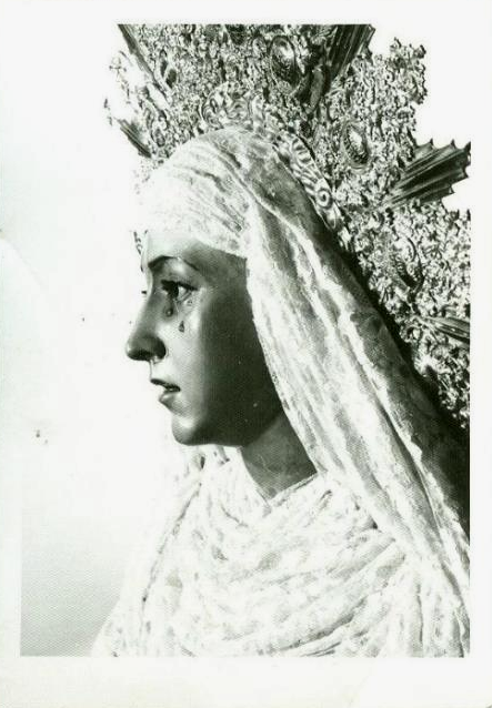 vintage photograph of the statue of Our Lady of Waters in Seville, Spain