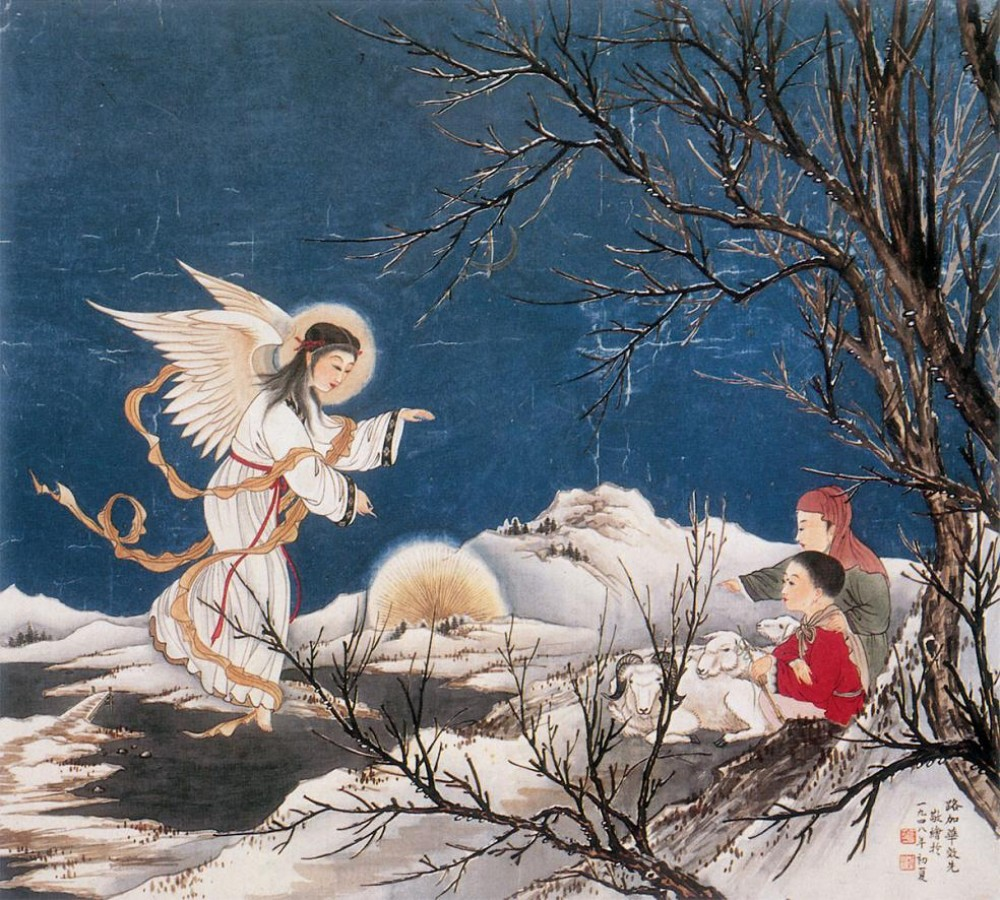 Angel announcing the birth of Jesus to shepherds