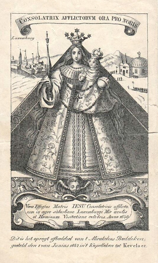 Dutch print of the miraculous image of Our Lady of Kevelaer, Consoler of the Afflicted
