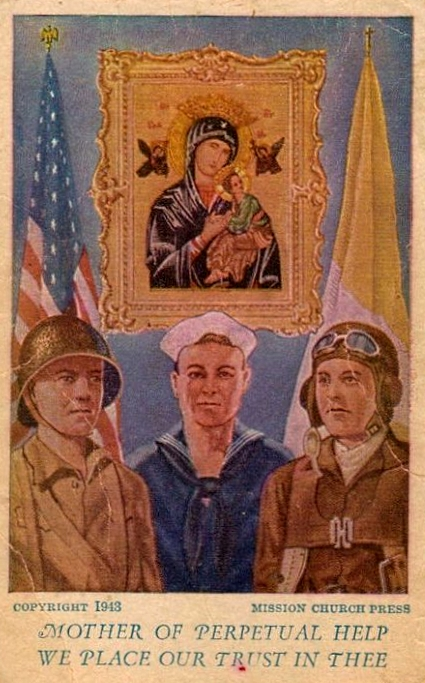American devotional image of Our Lady of Perpetual Help, printed during the Second World War to call on Mary's protection of servicemen sent abroad