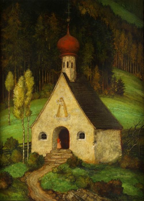 painting by the German:Austrian artist Matthäus Schiestl (1869-1939) of a young girl visiting a chapel in the woods.