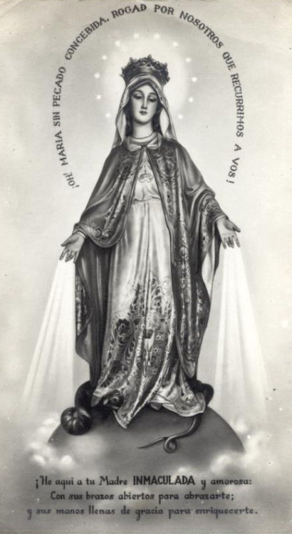 vintage Spanish holy card of Our Lady of the Miraculous Medal