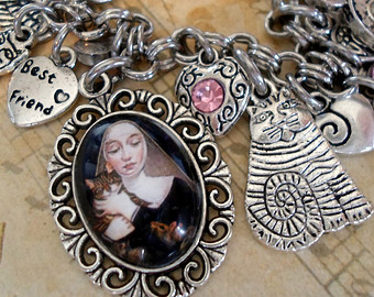 St. Gertrude of Nivelles, Patron Saint of Cats Pendant