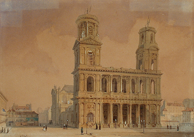 19th century depiction of St Sulpice where Montfort had earlier studied for the priesthood